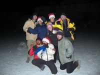 Craziness in the sand lake outside the lodge in Gorak Shep.  From L to R: Nate, Tina, Rosie, Hans, Hari, Jessie, Rachael, Sean.