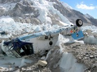 The wrecked Russian helicopter at Base Camp.  Crashed last climbing season - one Sherpa died, but everyone else survived, including the French climber who got pegged in the chest with a flying wheel when it hit the ground.