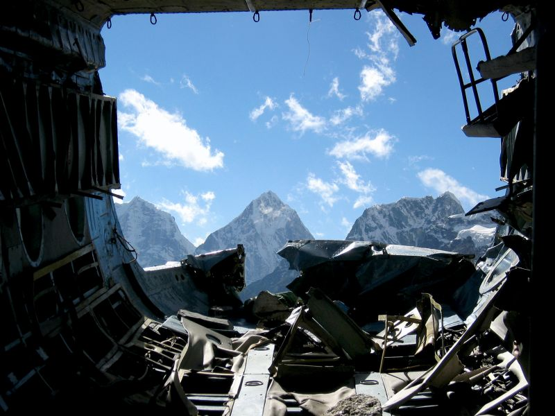 Out the back of the crashed chopper